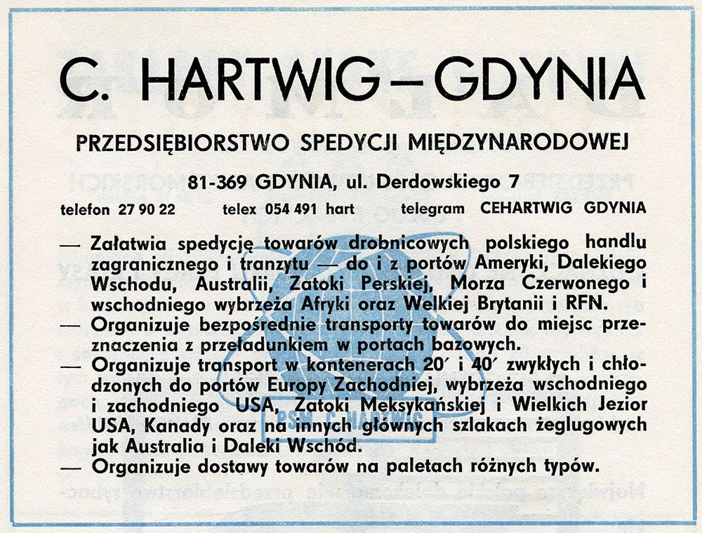 C. HARTWIG - GDYNIA Przedsiębiorstwo Spedycji Międzynarodowej