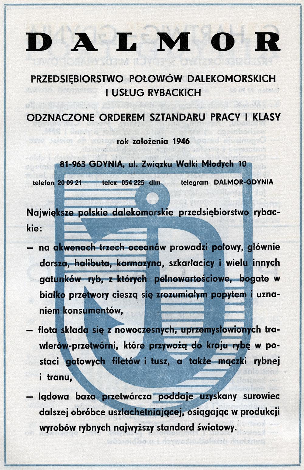 DALMOR Przedsiębiorstwo Połowów Dalekomorskich i Usług Rybackich Odznaczone Orderem Sztandaru Pracy I Klasy