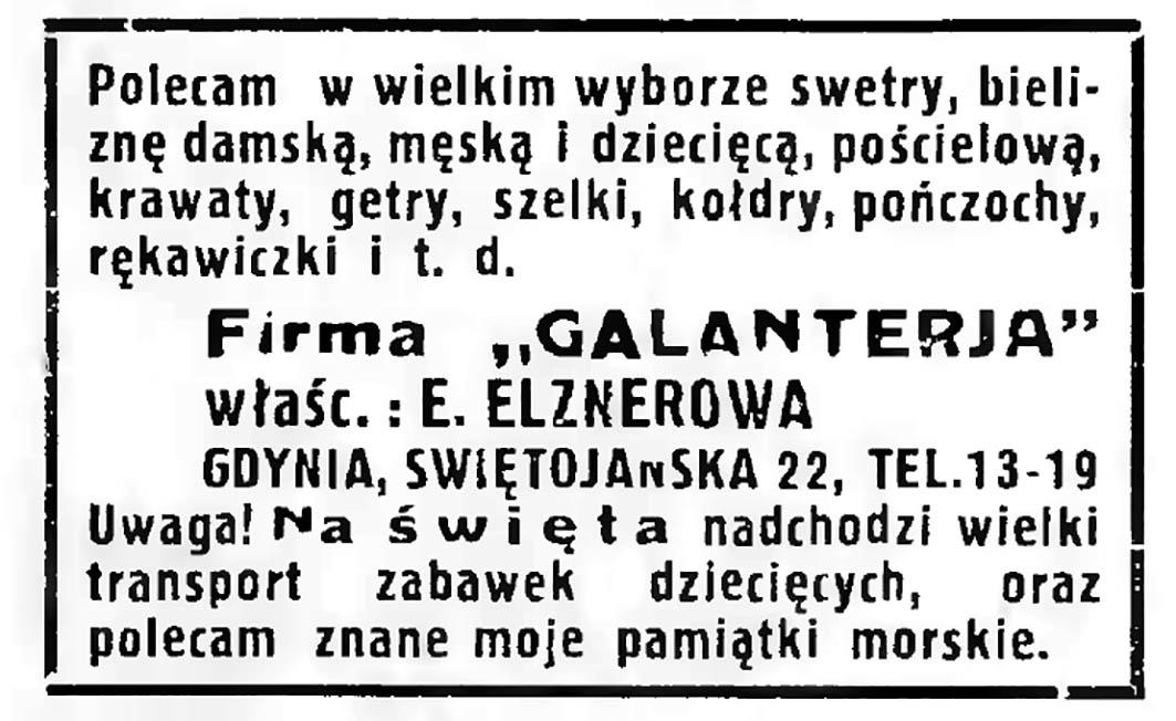 Firma GALANTERIA właść. E. ELZNEROWA Gdynia, ul. Świętojańska 22