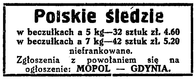 Polskie śledzie MOPOL - GDYNIA