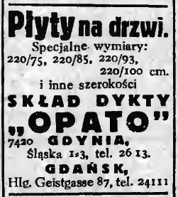 """Płyty na drzwi SKŁAD DYKTY """"OPATO"""" GDYNIA, Śląska 1"""