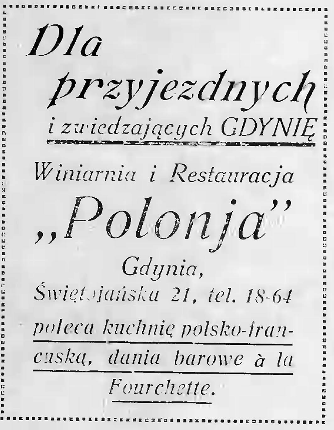 """Winiarnia i restauracja """"Polonja"""", Gdynia, Świętojańska 21"""