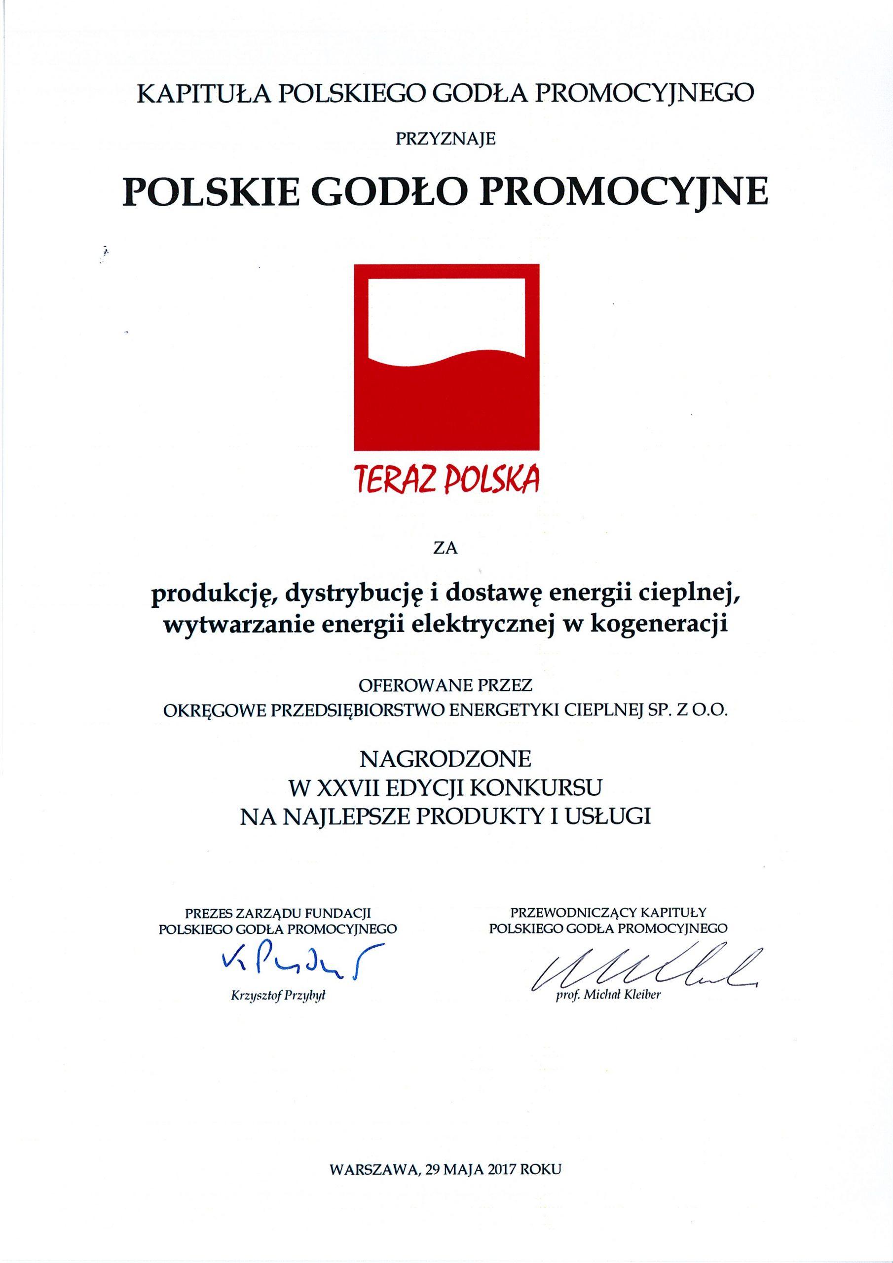 Godło Teraz Polska dla OPEC Gdynia