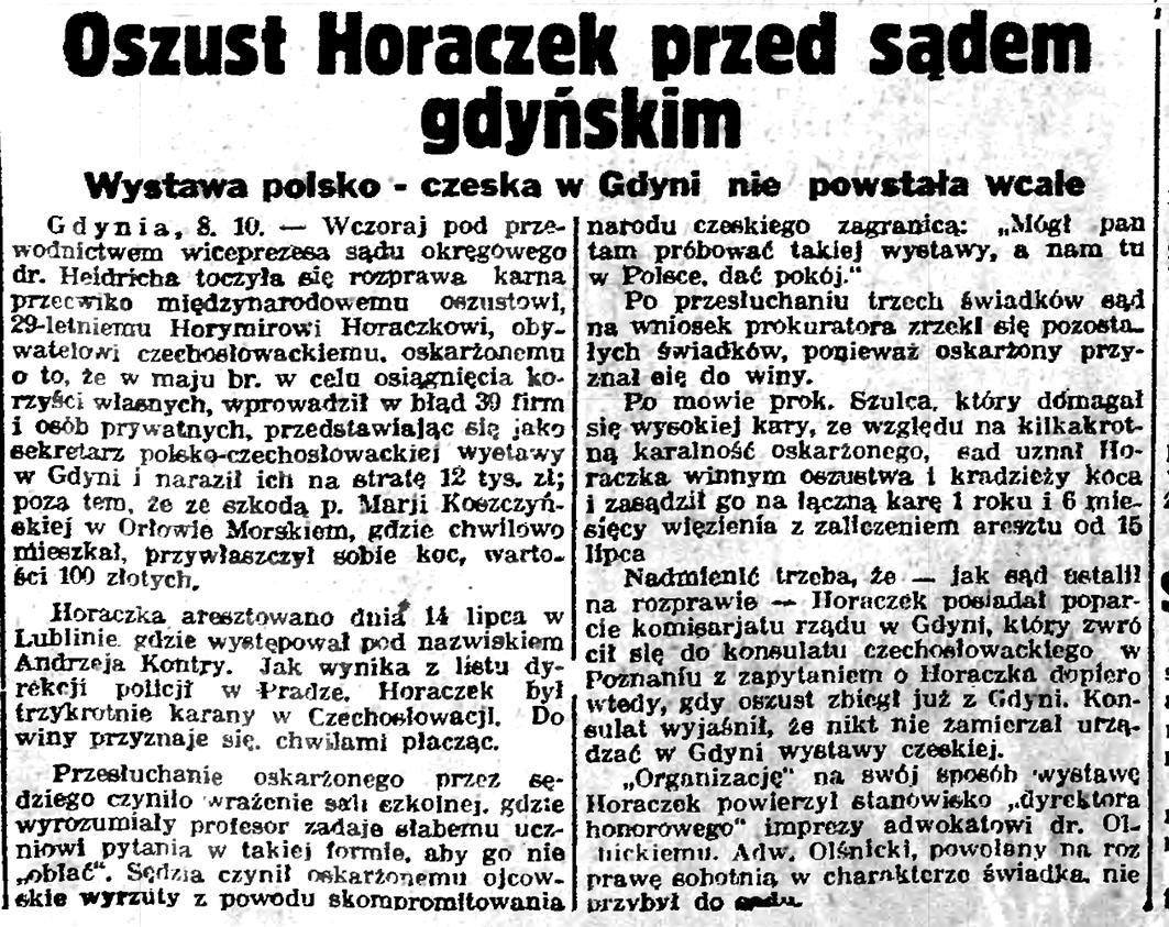 Oszust Horeczek przed gdyńskim sądem