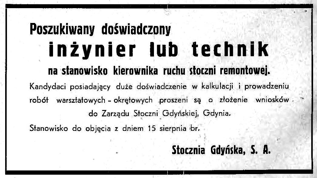 HASŁO DNIA Poszukiwany doświadczony inżynier lub technik na stanowisko kierownika ruchu stoczni remontowej Stocznia Gdynia S. A.