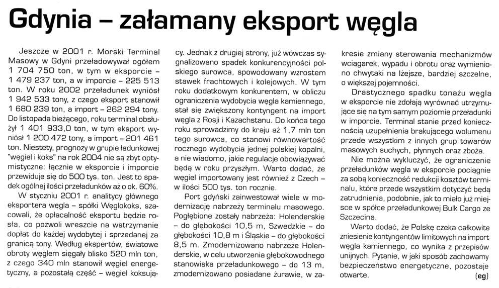 Gdynia - zalamany eksport węgla