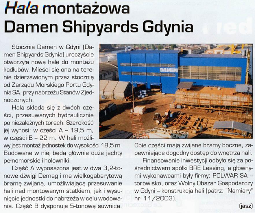 Hala montażowa Damen Shipyards Gdynia