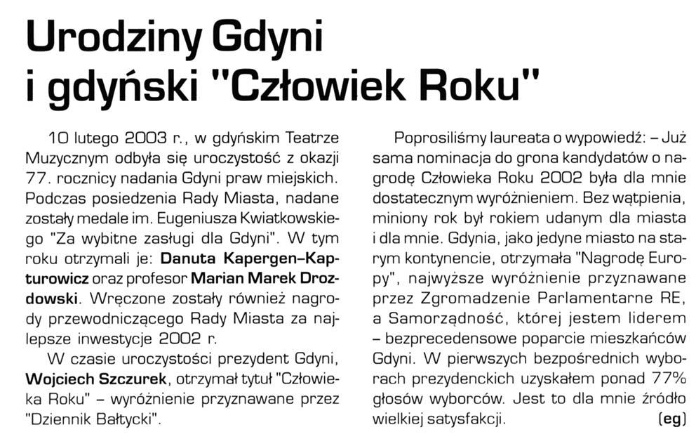 """Urodziny Gdyni i gdyński """"Człowiek Roku"""""""