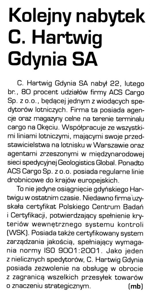 Kolejny nabytek C. Hartwig Gdynia SA