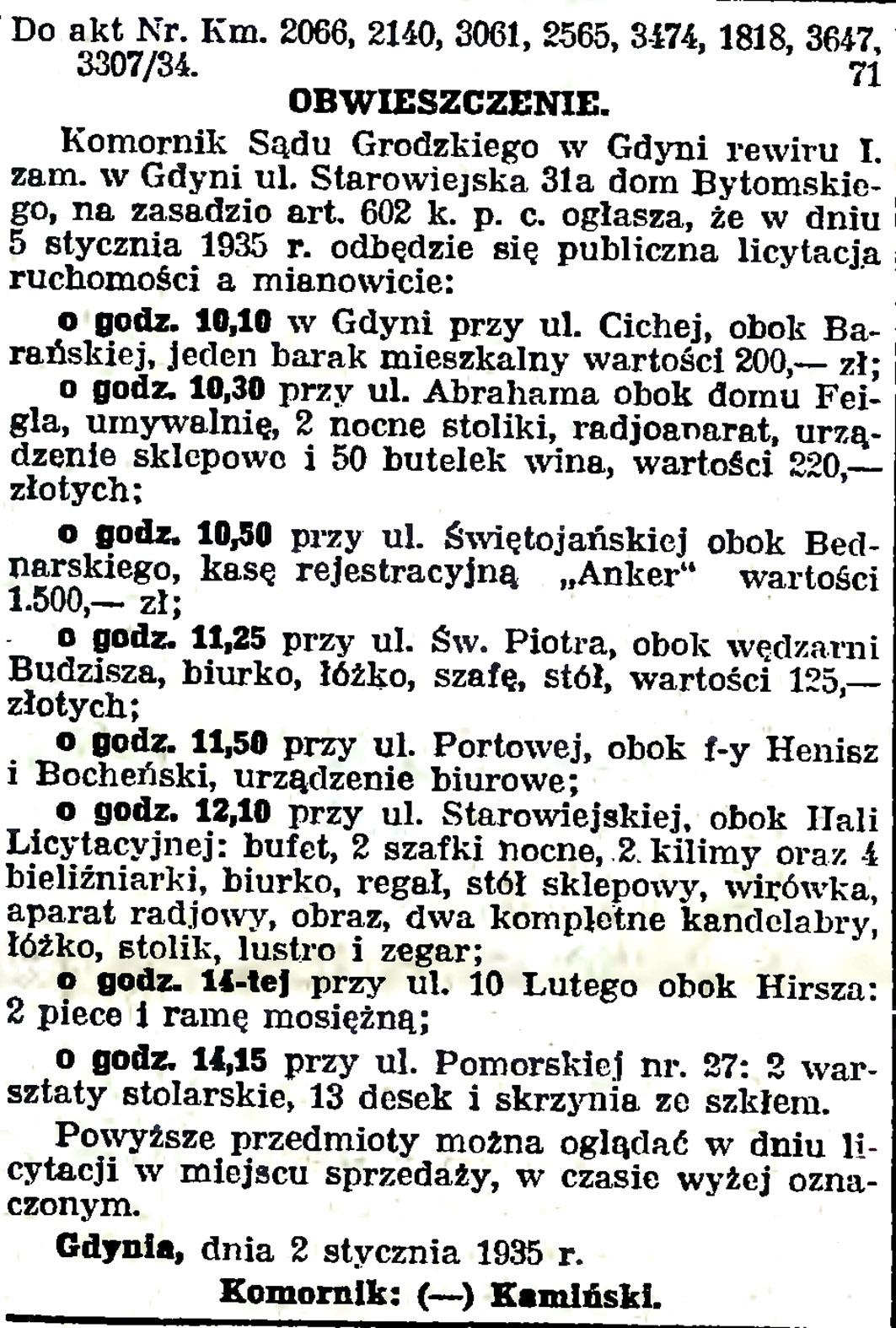 OBWIESZCZENIE 2 stycznia 1935 r.