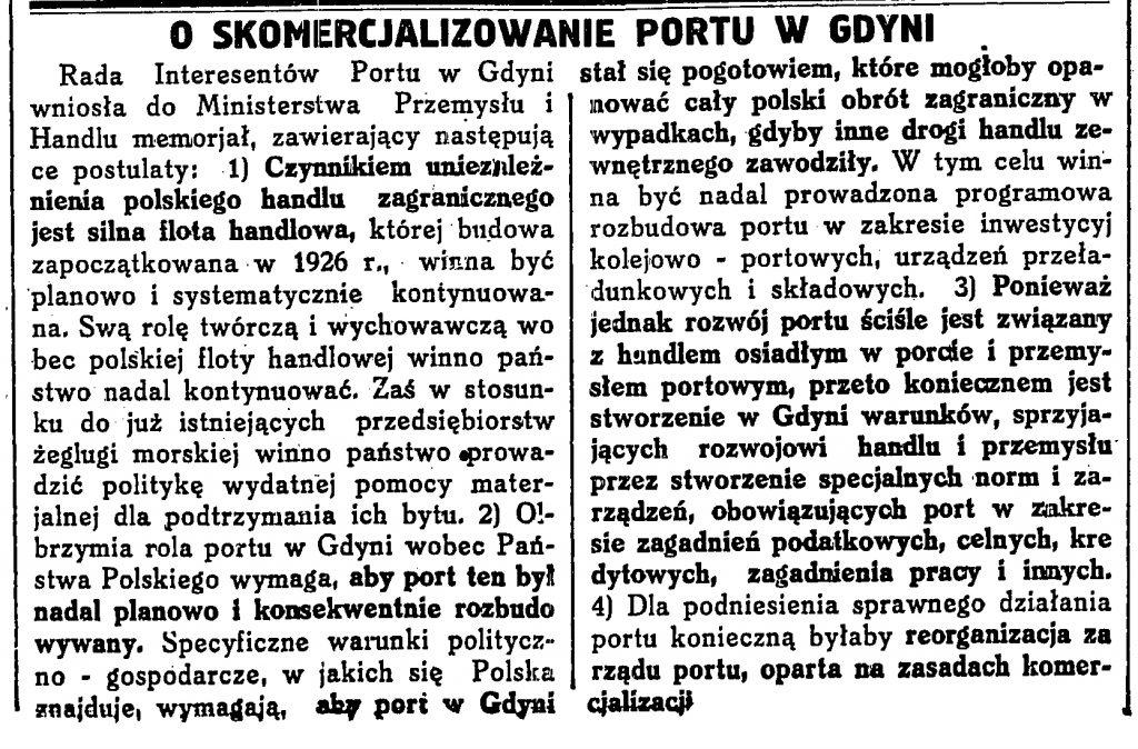 O skomercjalizowanie portu w Gdyni