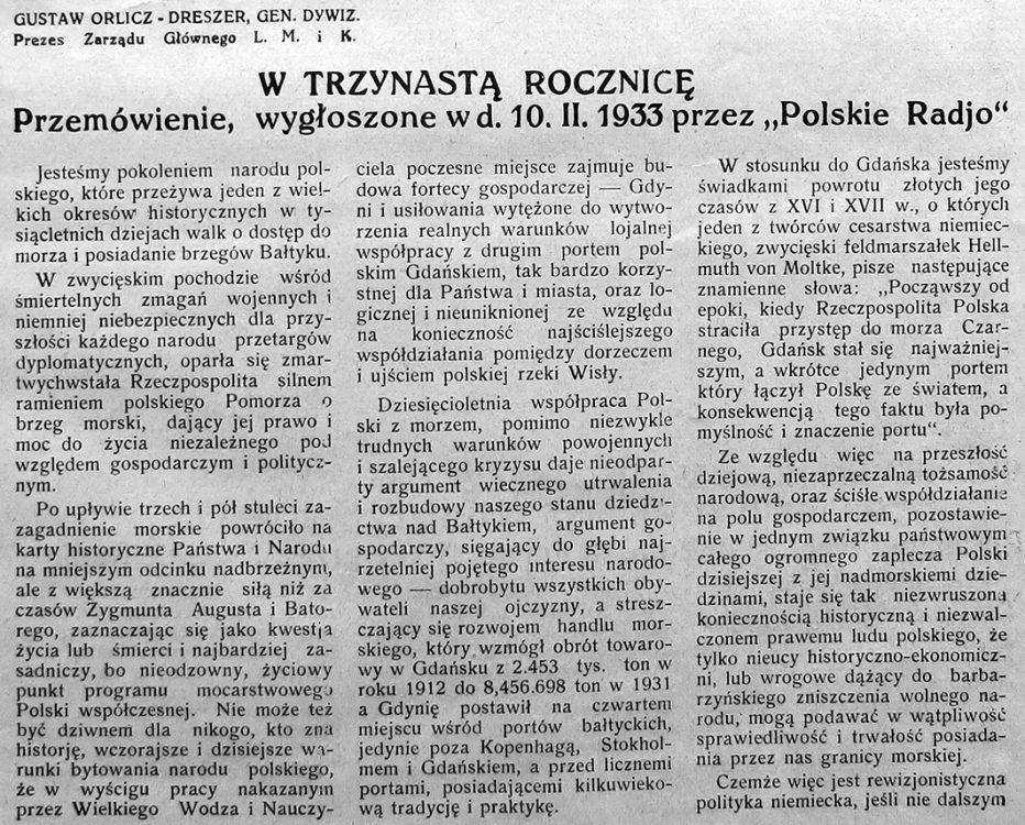 """W trzynastą rocznicę. Przemówienie, wygłoszone w d. 10. II. 1933 przez """"Polskie Radjo"""""""