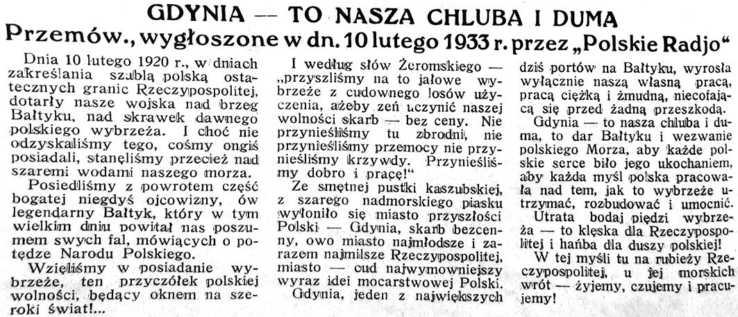 """Gdynia - to nasza chluba i duma. Przemów., wygłoszone w dn. 10 lutego 1933 r. przez """"Polskie Radjo"""""""