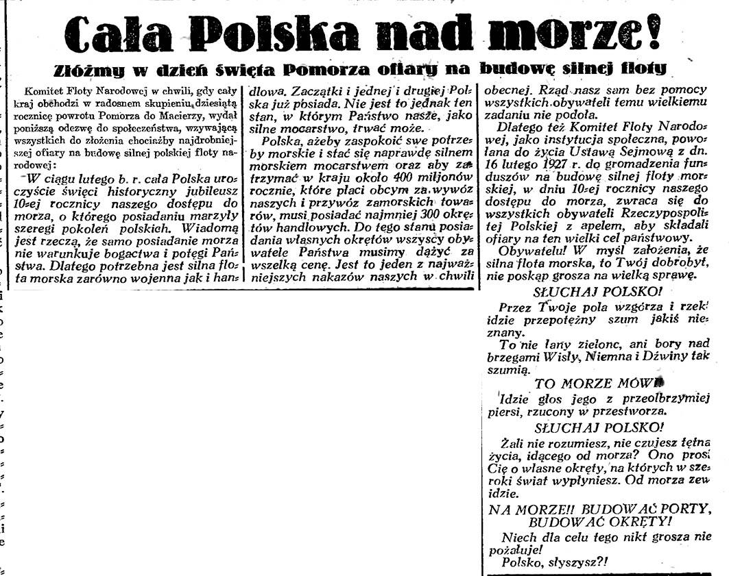 Cała Polska nad morze! Złóżmy w dzień święta Pomorza ofiary na budowę silnej floty