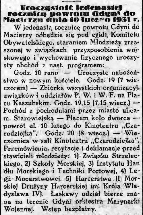 Uroczystość jedenastej rocznicy powrotu Gdyni do Macierzy dnia 10 Lutego 1931 r.