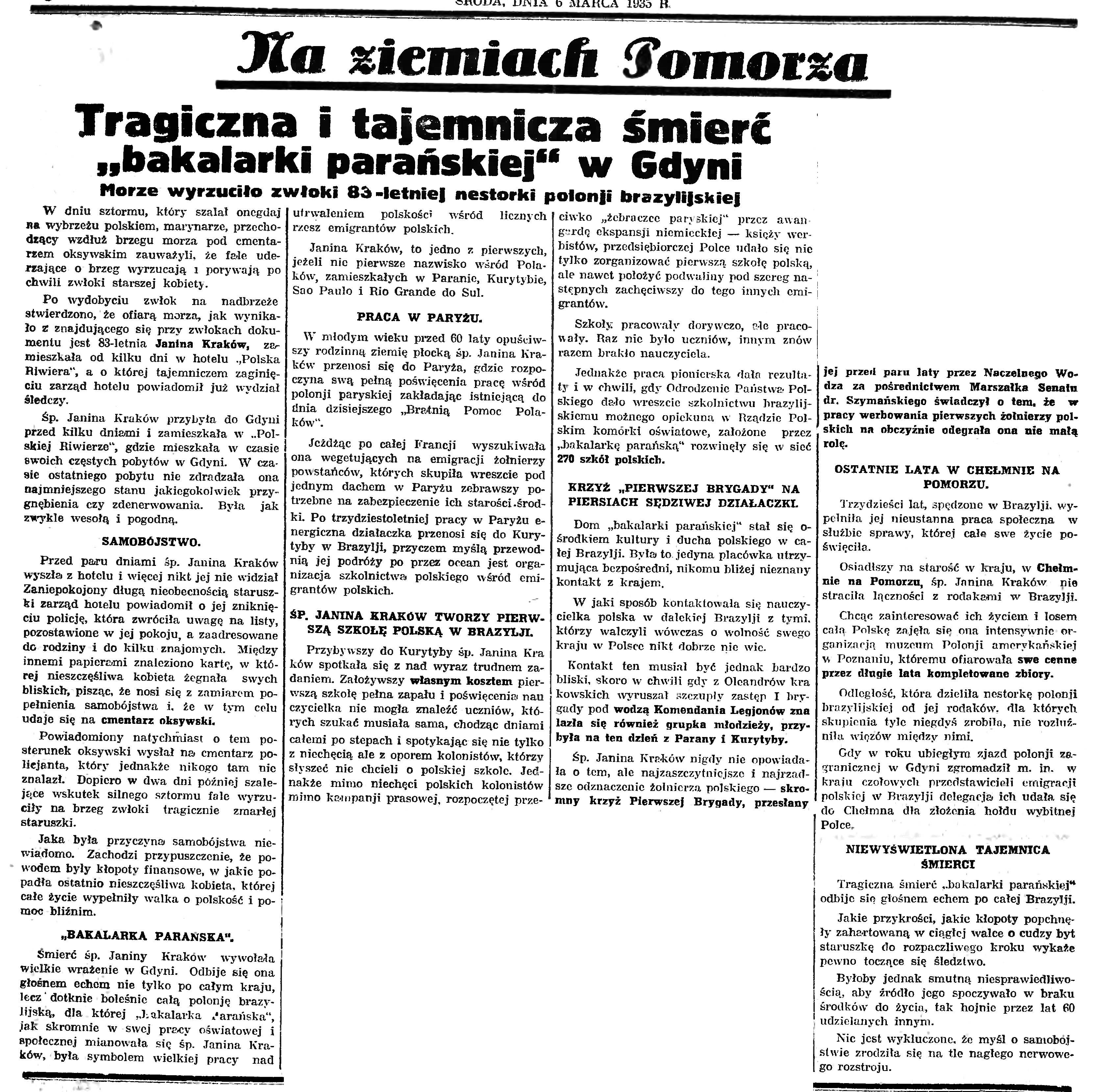 """Tragiczna i tajemnicza śmierć """"bakalarki parańskiej"""" w Gdyni. Morze wyrzuciło zwłoki 83-letniej nestorki polonji brazylijskiej"""