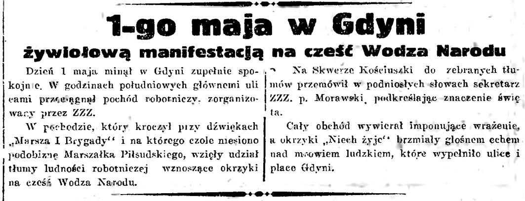 1-go maja w Gdyni żywiołowa manifestacja na cześć Wodza Narodu