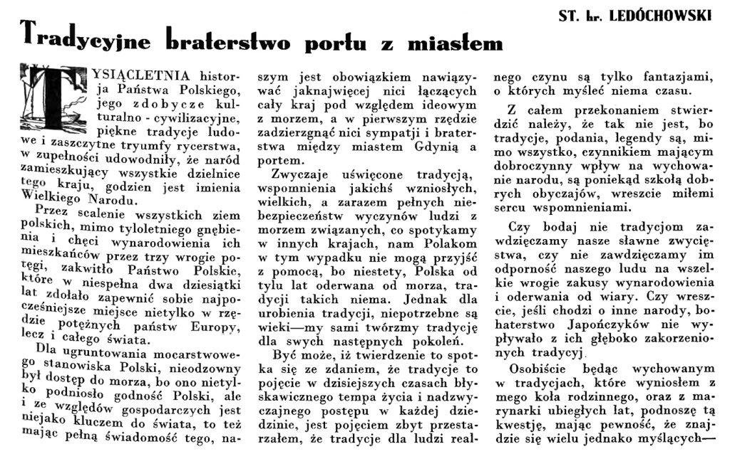 Tradycyjne braterstwo portu z miastem // Wiadomości Portu Gdyńskiego. - 1935, nr 4, s. 1-2