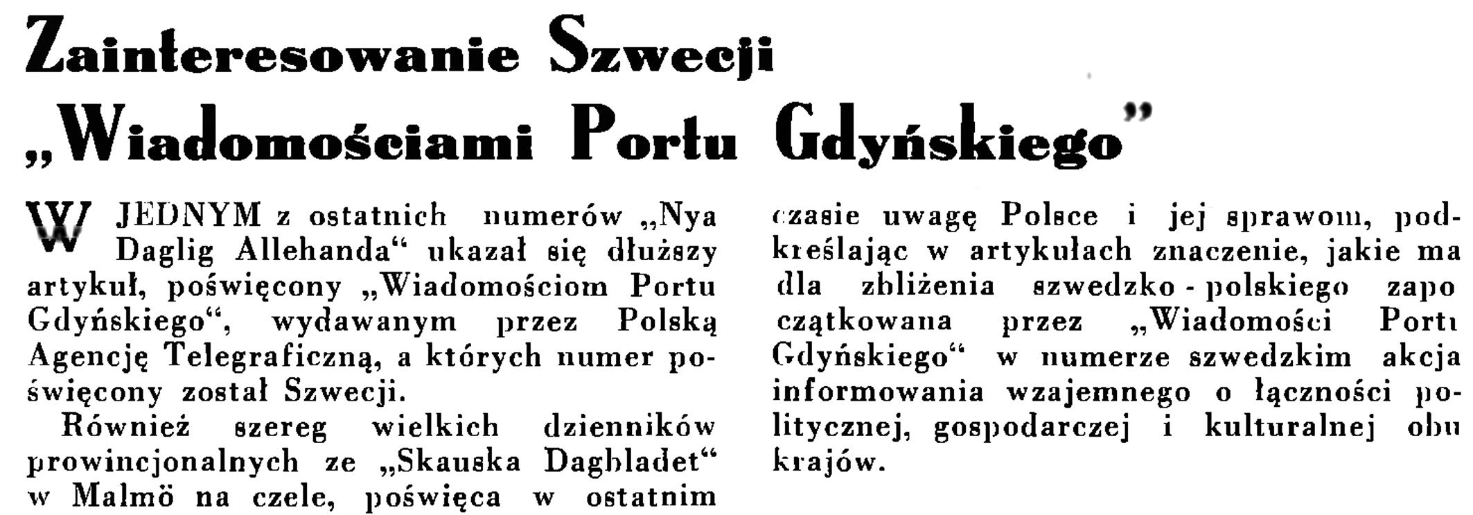 """Zainteresowanie Szwecji """"Wiadomościami Portu Gdyńskiego"""" // Wiadomości Portu Gdyńskiego. - 1935, nr 1, s. 10"""