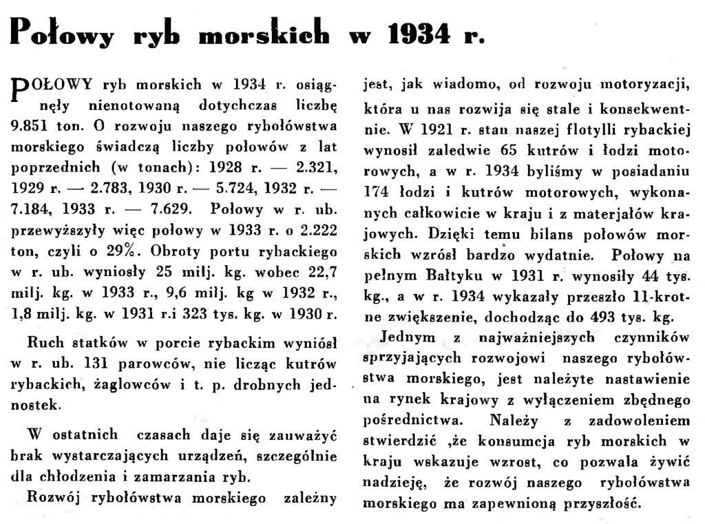 Połowy ryb morskich w 1934 r. // Wiadomości Portu Gdyńskiego. - 1935, nr 1, s. 10