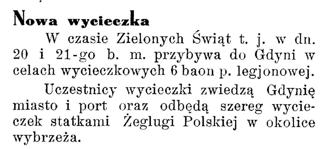 Nowa wycieczka // Latarnia Morska. - 1934, nr 17, s. 10