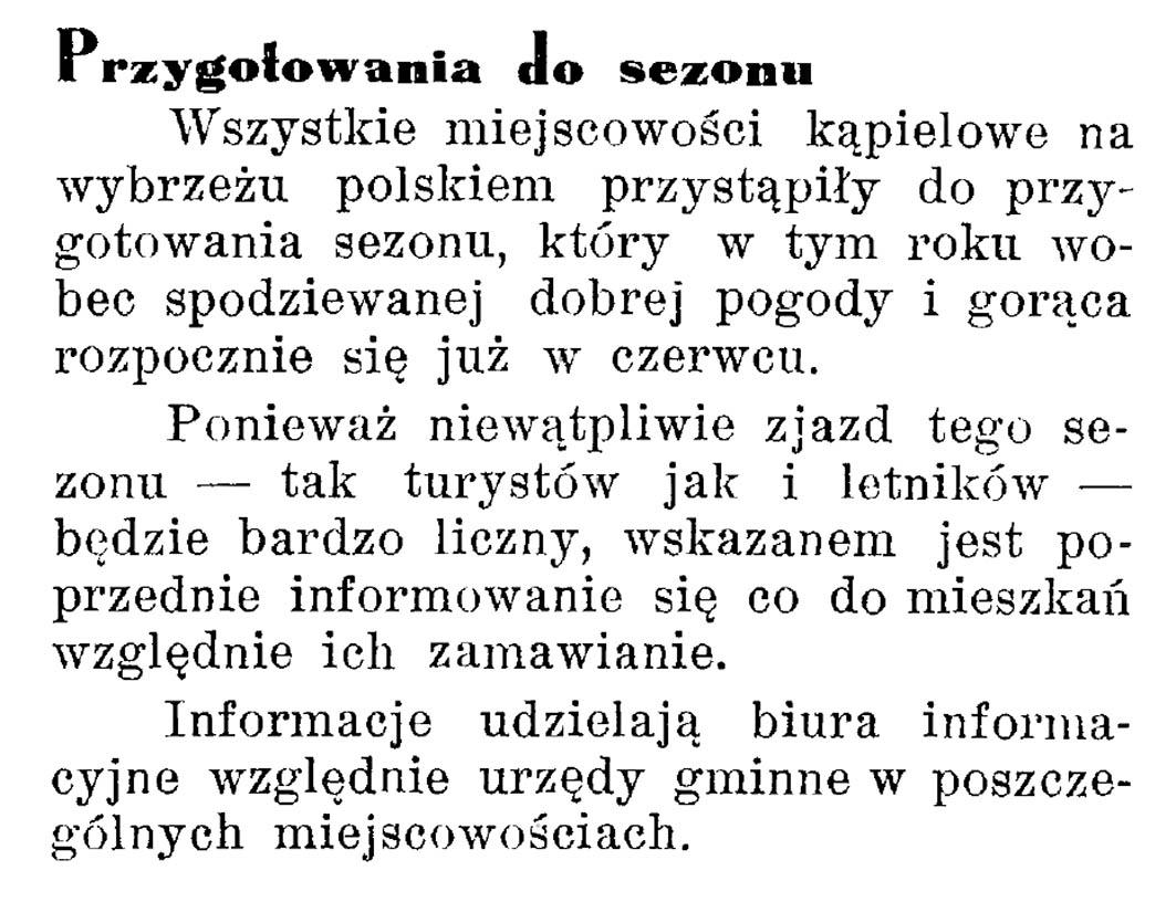 Przygotowania do sezonu // Latarnia Morska. - 1934, nr 17, s. 10