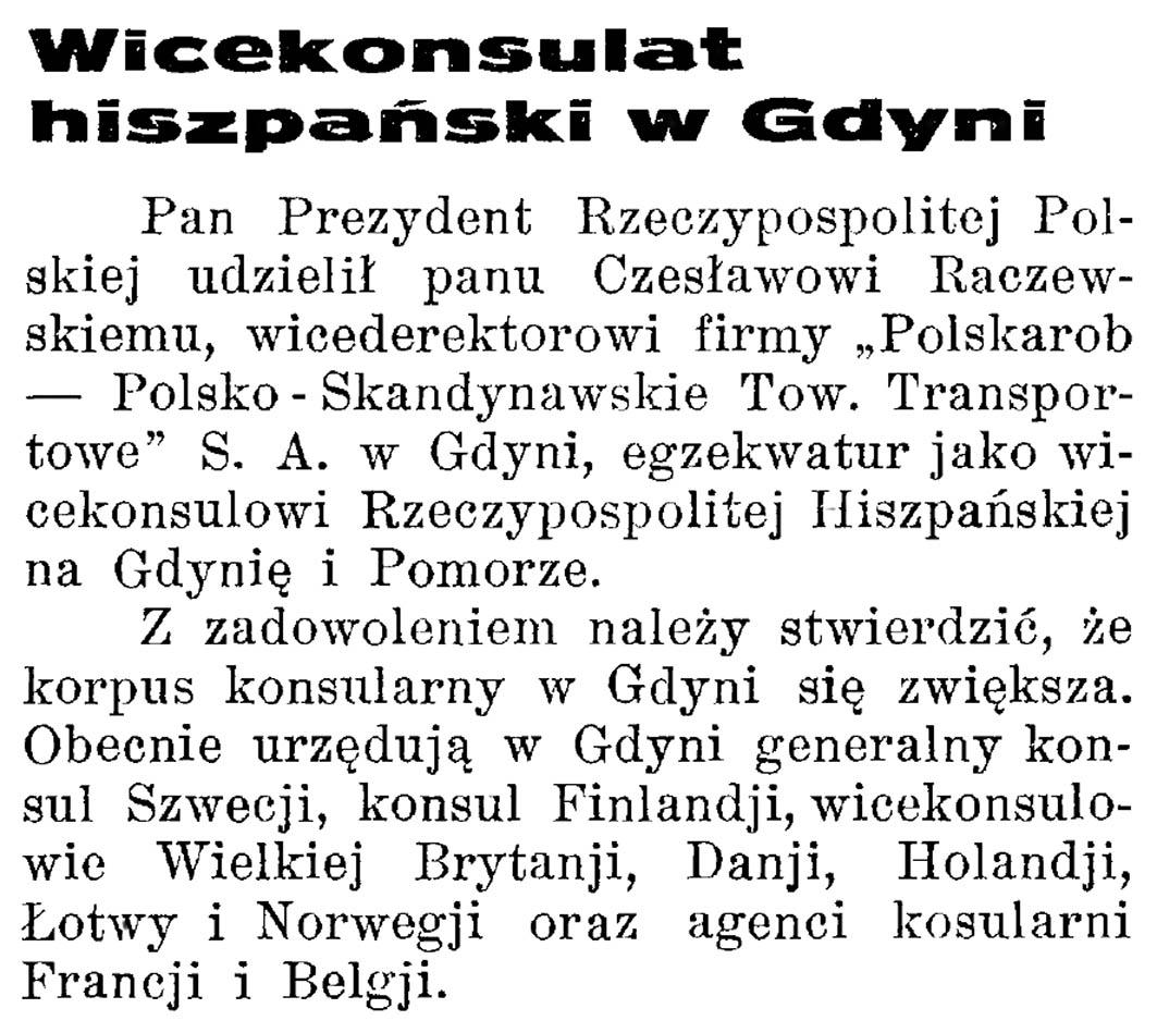 Wicekonsulat hiszpański w Gdyni // Latarnia Morska. - 1934, nr 17, s. 10