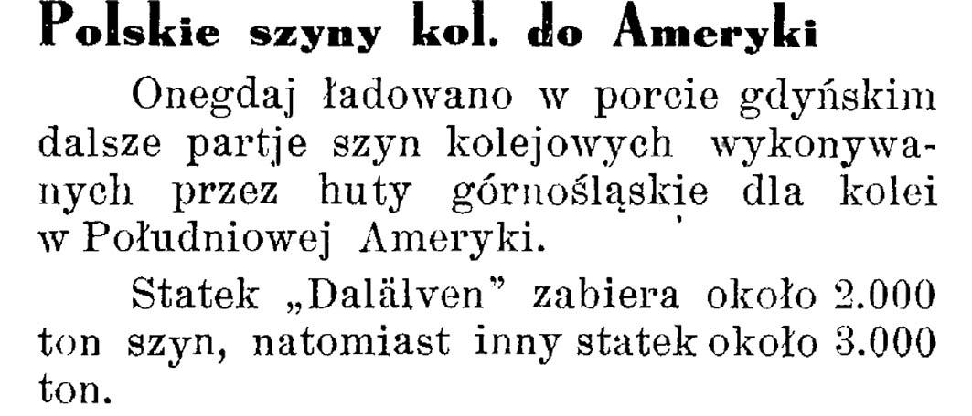 Polskie szyny kol[ejowe]. do Ameryki [Południowej] // Latarnia Morska. - 1934, nr 17, s. 10
