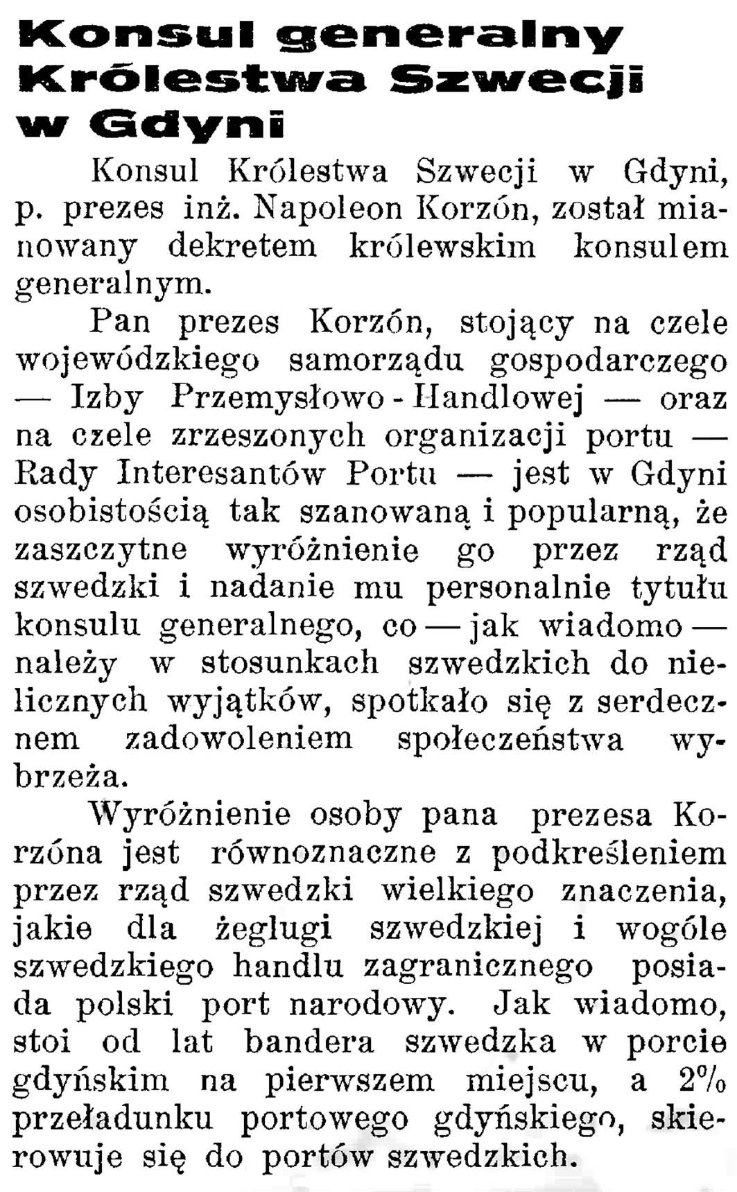 Konsulat generalny Królestwa Szwecji w Gdyni // Latarnia Morska. - 1934, nr 17, s. 10