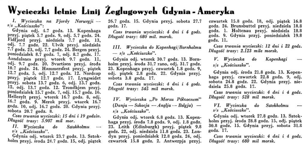 Wycieczki letnie Linij Żeglugowych Gdynia - Ameryka // Wiadomości Portu Gdyńskiego. - 1935, nr 4, s. 115