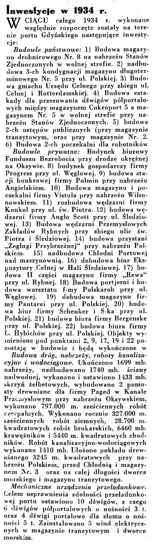 Inwestycje w 1934 r. // Wiadomości Portu Gdyńskiego. - 1935, nr 1, s. 12