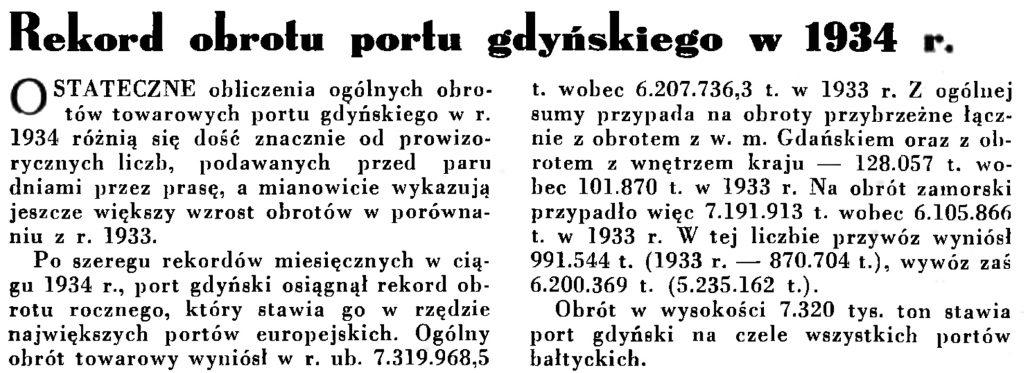 Rekord obrotu portu gdyńskiego w 1934 r. // Wiadomości Portu Gdyńskiego. - 1935, nr 1, s. 12
