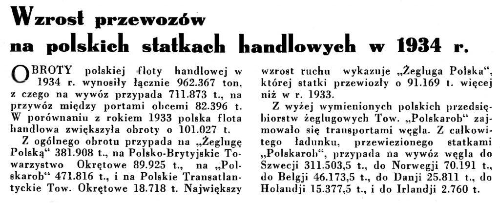 Wzrost przewozów na polskich statkach handlowych w 1934 r. // Wiadomości Portu Gdyńskiego. - 1935, nr 1, s. 12