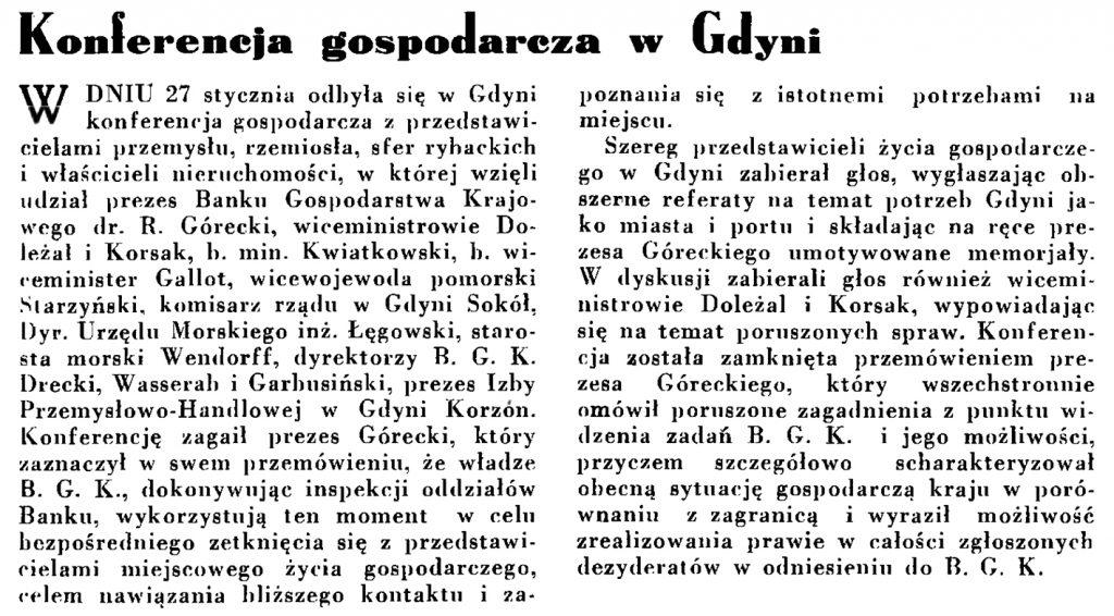 Konferencja gospodarcza w Gdyni // Wiadomości Portu Gdyńskiego. - 1935, nr 1, s. 13