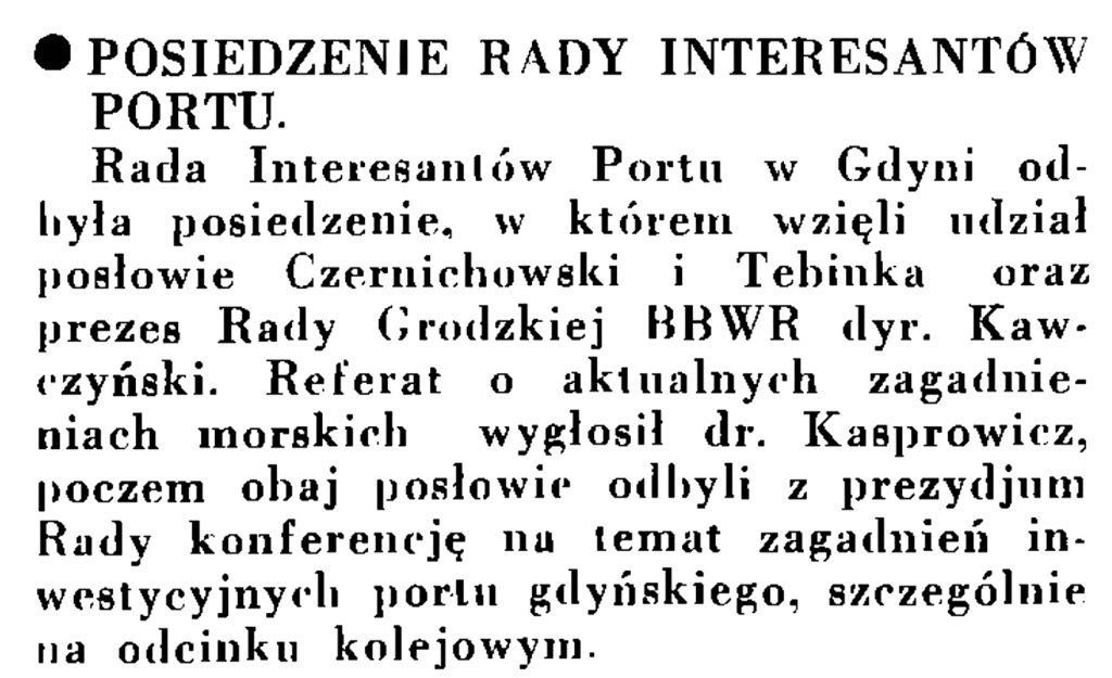 Posiedzenie Rady Interesantów Portu // Wiadomości Portu Gdyńskiego. - 1935, nr 1, s. 13