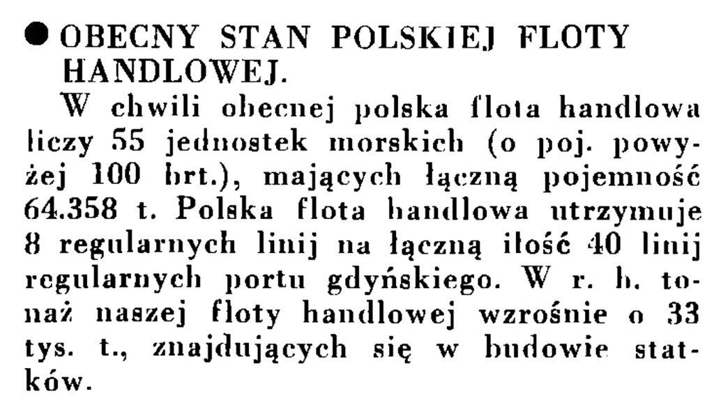 Obecny stan polskiej floty handlowej // Wiadomości Portu Gdyńskiego. - 1935, nr 1, s. 13