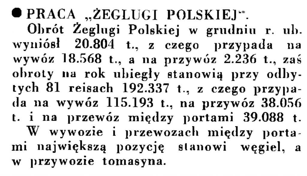 """Praca """"Żeglugi Polskiej"""" // Wiadomości Portu Gdyńskiego. - 1935, nr 1, s. 13"""