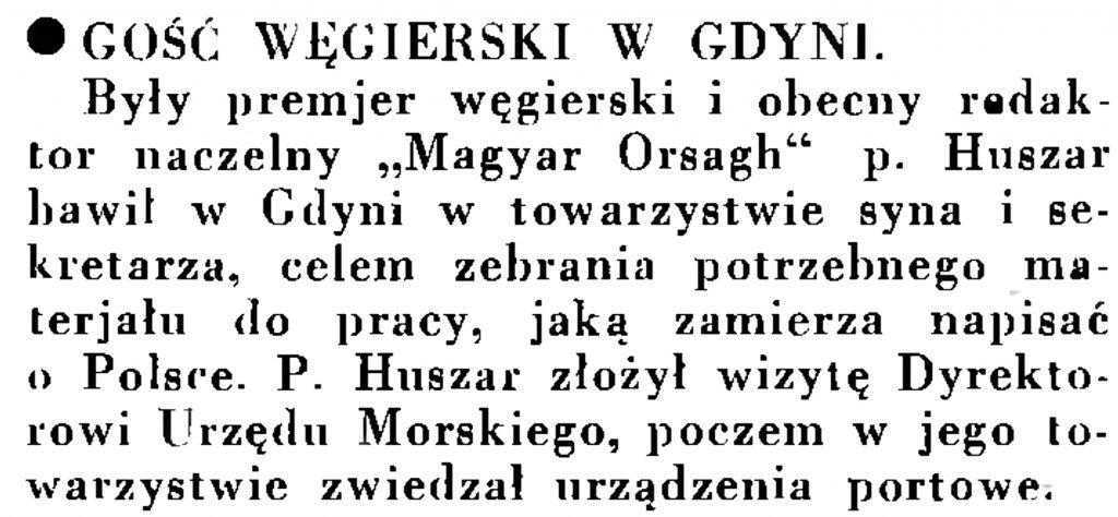 Gość węgierski w Gdyni // Wiadomości Portu Gdyńskiego. - 1935, nr 1, s. 13