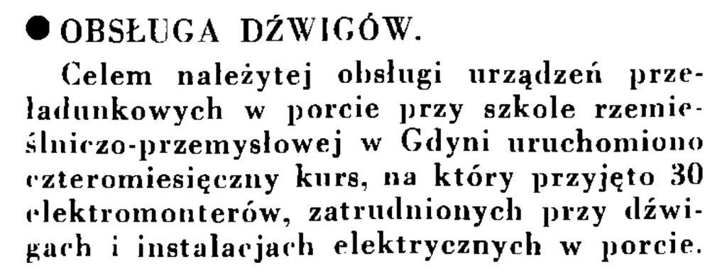 Obsługa dźwigów // Wiadomości Portu Gdyńskiego. - 1935, nr 1, s. 13