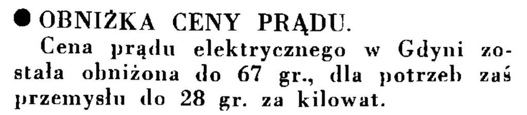 Obniżka cen prądu // Wiadomości Portu Gdyńskiego. - 1935, nr 1, s. 13