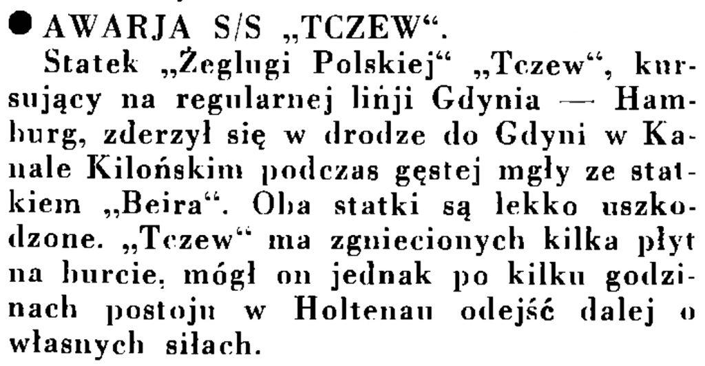 """Awaria s/s/ """"Tczew"""" // Wiadomości Portu Gdyńskiego. - 1935, nr 1, s. 13"""
