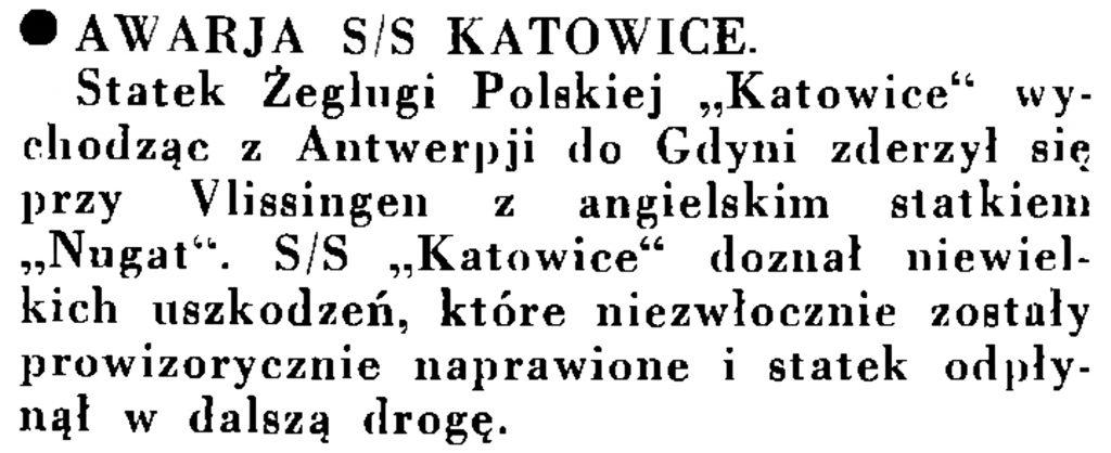 """Awaria s/s """"Katowice"""" // Wiadomości Portu Gdyńskiego. - 1935, nr 1, s. 13"""