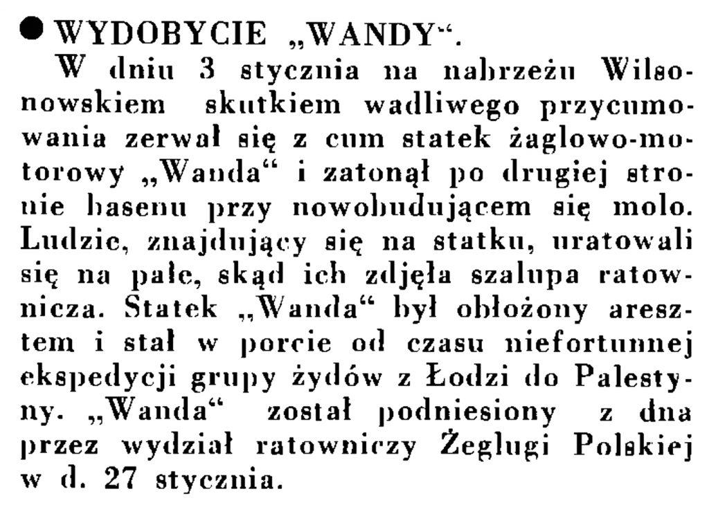 """Wydobycie """"Wandy"""" // Wiadomości Portu Gdyńskiego. - 1935, nr 1, s. 13"""