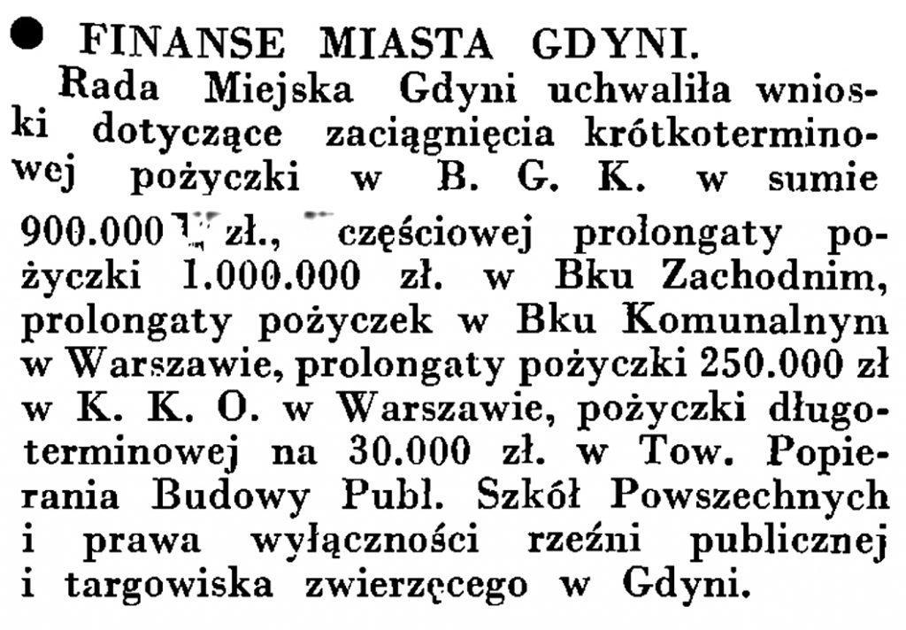 Finanse miasta Gdyni // Wiadomości Portu Gdyńskiego. - 1935, nr 4, s. 15
