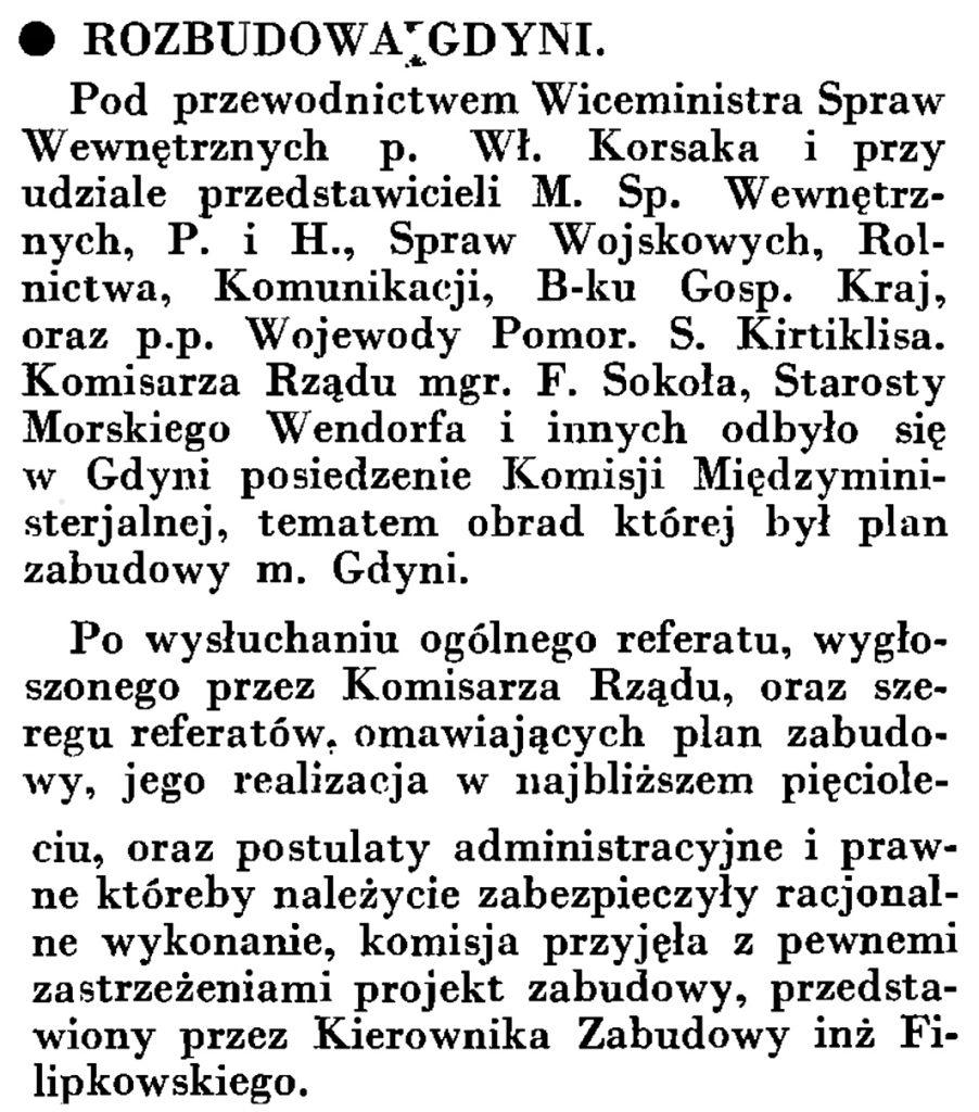 Rozbudowa Gdyni // Wiadomości Portu Gdyńskiego. - 1935, nr 4, s. 15