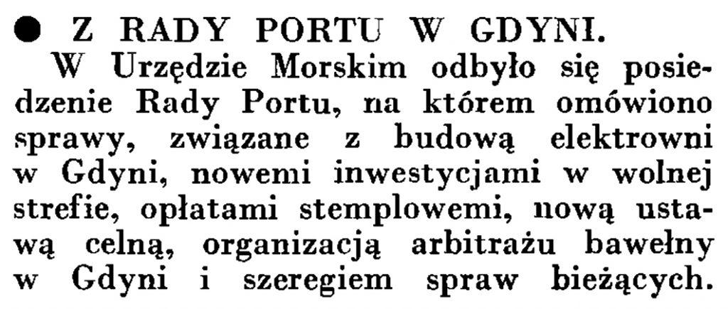 Z Rady Portu w Gdyni // Wiadomości Portu Gdyńskiego. - 1935, nr 4, s. 15