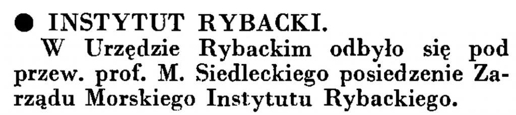 Instytut Rybacki // Wiadomości Portu Gdyńskiego. - 1935, nr 4, s. 15