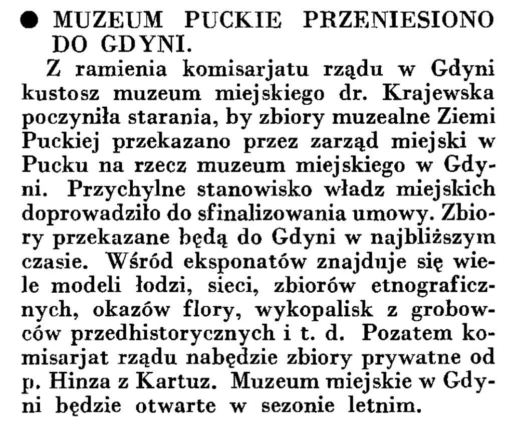 Muzeum puckie przeniesiono do Gdyni // Wiadomości Portu Gdyńskiego. - 1935, nr 4, s. 16