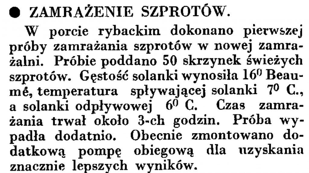 Zamrażanie szprotów // Wiadomości Poru Gdyńskiego. - 1935, nr 4, s. 16