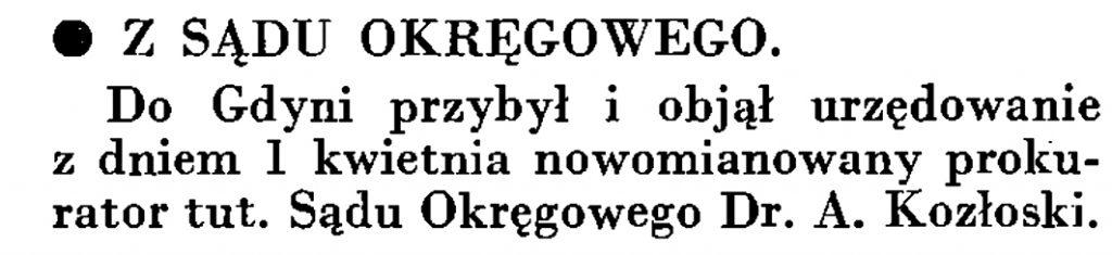 Z sądu okręgowego // Wiadomości Poru Gdyńskiego. - 1935, nr 4, s. 16